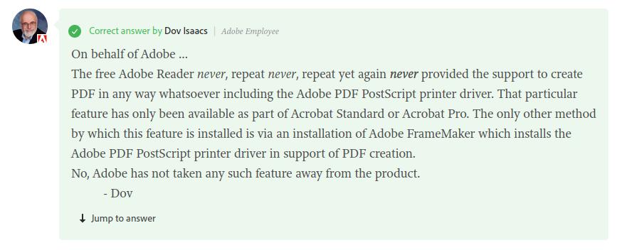 Adobe Reader never provided a PDF printer